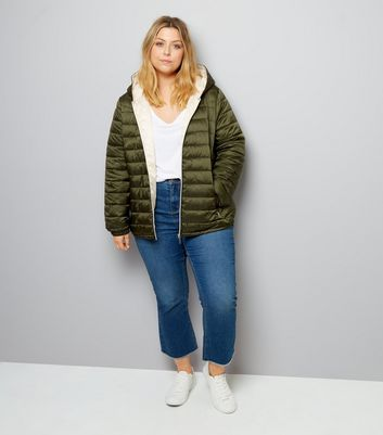 Curves Khaki Lightweight Puffer Jacket New Look