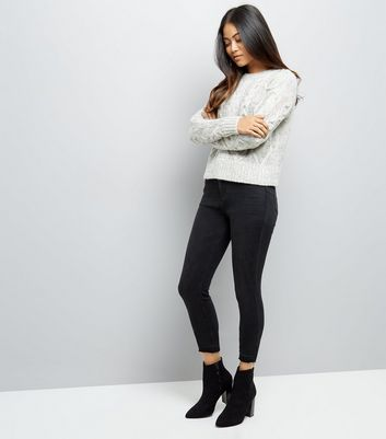 Petite Grey Cable Knit Crew Neck Jumper New Look