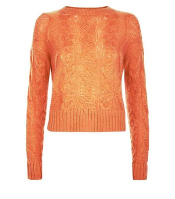 Petite Orange Cable Knit Crew Neck Jumper New Look