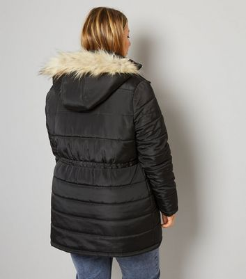 Curves Black Faux-Fur Trim Puffer Jacket New Look