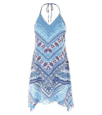 Blue Paisley Print Hanky Hem Halter Neck Dress New Look