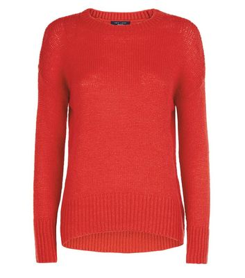 Petite Red Longline Jumper New Look