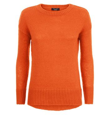 Petite Orange Dropped Shoulder Longline Jumper New Look