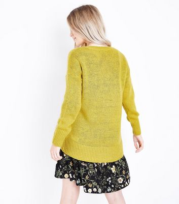 Petite Yellow Longline Jumper New Look