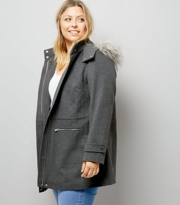 Curves Grey Faux Fur Trim Hooded Duffle Coat New Look