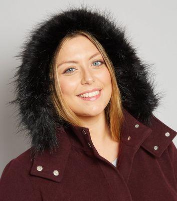 Curves Burgundy Faux Fur Trim Hooded Duffle Coat New Look