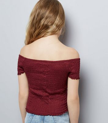 Teens Burgundy Shirred Frill Edge Bardot Neck Top New Look