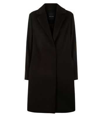 Black Longline Collared Coat New Look