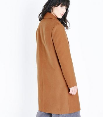 Tan Longline Collared Coat New Look