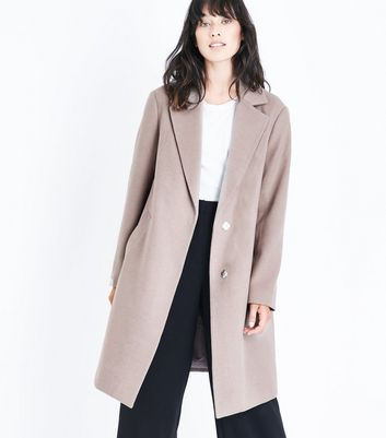 Mink Longline Collared Coat New Look