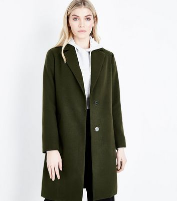 Khaki Longline Collared Coat New Look