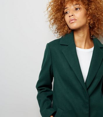 Green Longline Collared Coat New Look