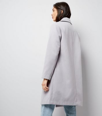 Lilac Longline Collared Coat New Look