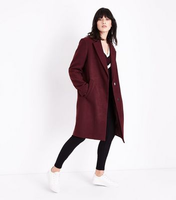 Burgundy Longline Collared Coat New Look