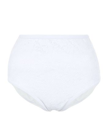White Crochet Lace High Waist Bikini Bottoms