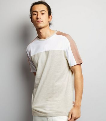 Cream Colour Block T-Shirt New Look