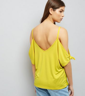 Yellow Tie Sleeve Cold Shoulder Top New Look