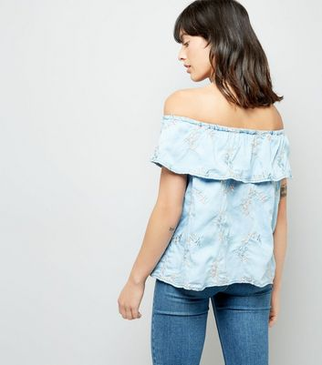 Blue Floral Embroidered Bardot Top New Look