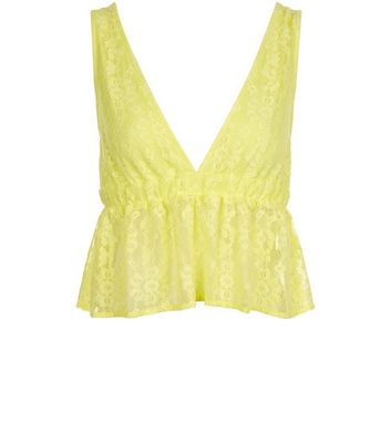 Yellow Lace Frill Trim Bralet New Look