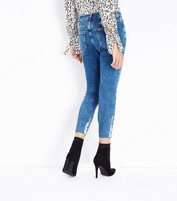 Blue Fray Scratch Hem Skinny Jenna Jeans New Look