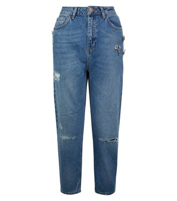 Blue Brooch Trim Ripped Knee Cropped Jeans New Look