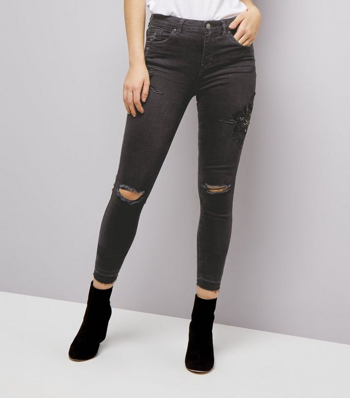 most fashionable wholesale shop for official Black Beaded Floral Badge Ripped Skinny Jenna Jeans Add to Saved Items  Remove from Saved Items