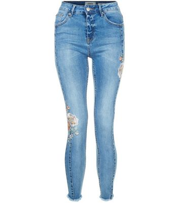 Blue Floral Embroidered Skinny Jeans New Look