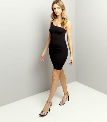 Black One Shoulder Ring Trim Bodycon Dress New Look