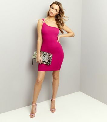 Bright Pink One Shoulder Ring Trim Bodycon Dress New Look
