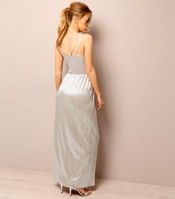 Rose Gold Plisse Cross Strap Maxi Dress New Look