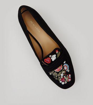 Black Suedette Floral Embroidered