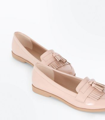 Nude Patent Fringe Front Loafers New Look