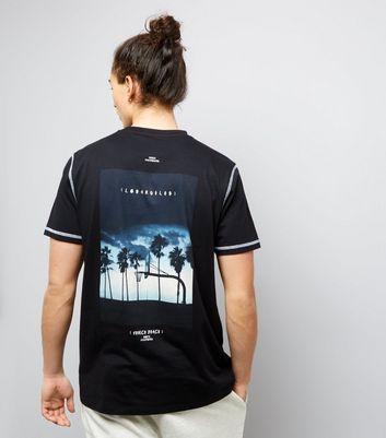 Black Venice Beach Bank Print T-Shirt New Look