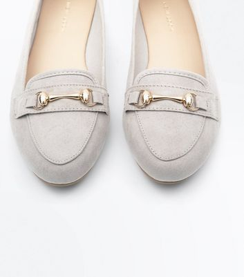 Grey Suedette Metal Trim Loafers New Look