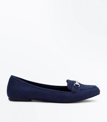 Navy Suedette Metal Trim Loafers New Look