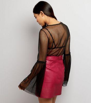 Petite Bright Pink Seam Trim Leather-Look Mini Skirt New Look