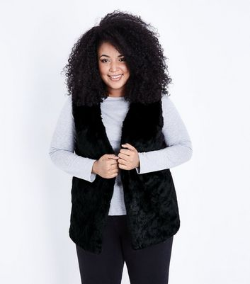Curves Black Faux Fur Gilet New Look