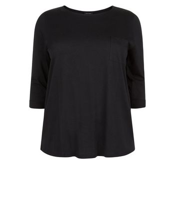 Curves Black 3/4 Sleeve Single Pocket Top New Look