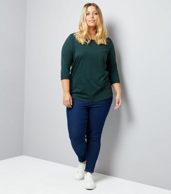 Curves Green 3/4 Sleeve Single Pocket Top New Look