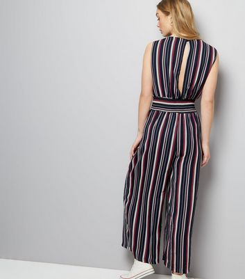 Mela Navy Stripe Shirred Jumpsuit New Look
