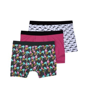 3 Pack Patterned Boxer Briefs New Look