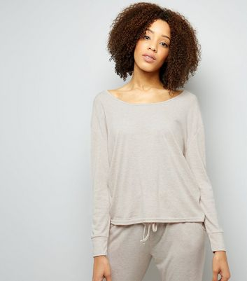 Cream Twist Back Pyjama Sweater New Look