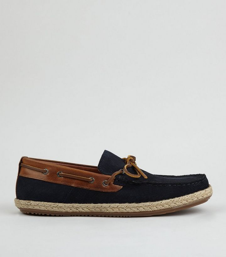 55afc8a9487c Navy Suede Espadrille Loafers
