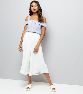 Petite White Wide Leg Cropped Trousers New Look