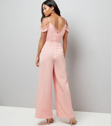 Petite Pink Lace Trim Cold Shoulder Jumpsuit New Look