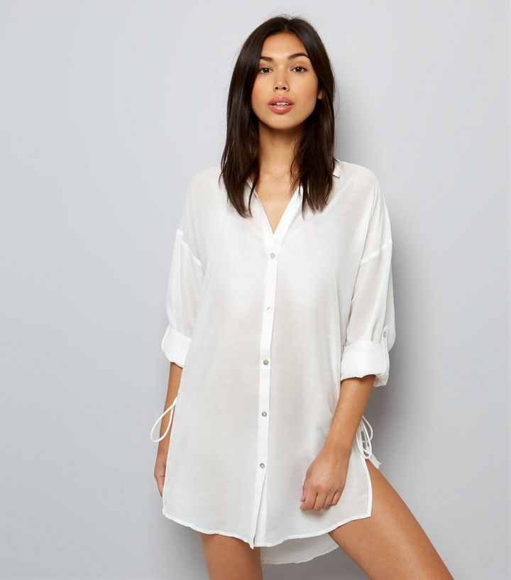 dcae044eaad White Tie Side Beach Shirt | New Look