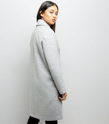 Petite Grey Collared Longline Coat New Look