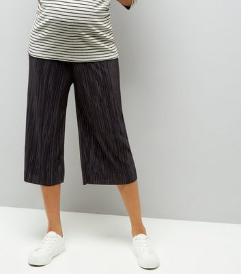 Maternity Black Pleated Culottes New Look