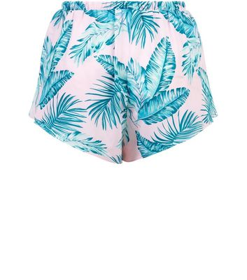Pink Tropical Print Frill Trim Beach Shorts New Look