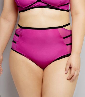 Curves Pink Strappy High Waist Briefs New Look